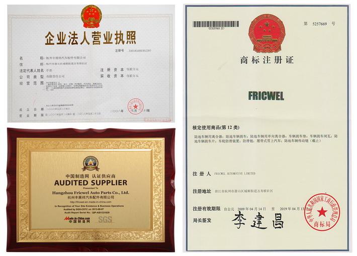 Fricwel marca fue registrada en 2006, también somos el proveedor auditada por SGS y agente de made-in-china.